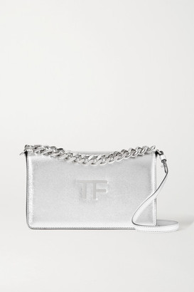 Tom Ford Tf Chain Medium Metallic Textured-leather Shoulder Bag - Silver