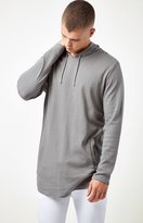 PacSun Brice Hooded Long Sleeve Extended Length Scallop T-Shirt