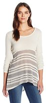 Blu Pepper Women's Knit Long Sleeve Stripe Pattern Top