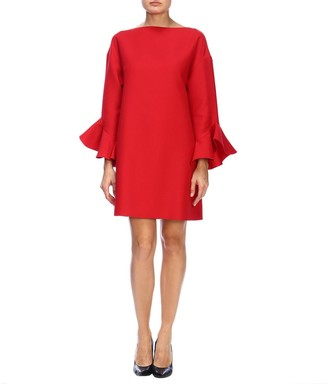 Valentino Crecirc;pe Couture Dress With Rouches