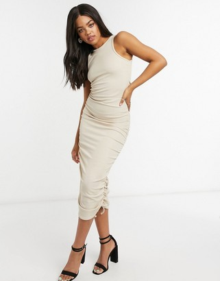 In The Style x Shaughna ribbed drawstring midi dress in mocha