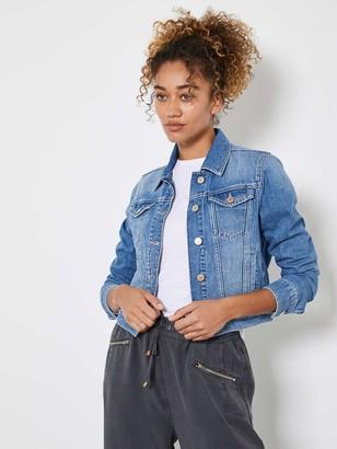 Mint Velvet Frayed Edge Denim Western Jacket - Washed Indigo