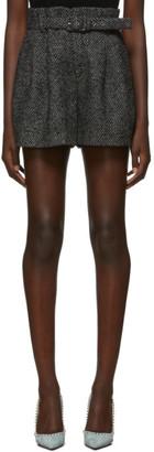 RED Valentino Grey Wool Herringbone Shorts