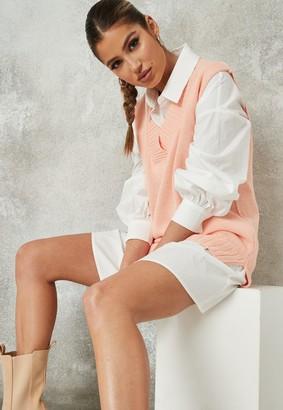 Missguided Pink V Neck Sleeveless Knit Jumper Vest