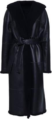 Zimmermann Belted Reversible Leather And Shearling Hooded Coat