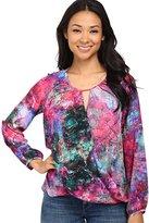 Amanda Uprichard Womens Petites Silk Wrap Blouse Multi S