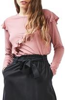 Topshop Women's Long Sleeve Ruffle Tee