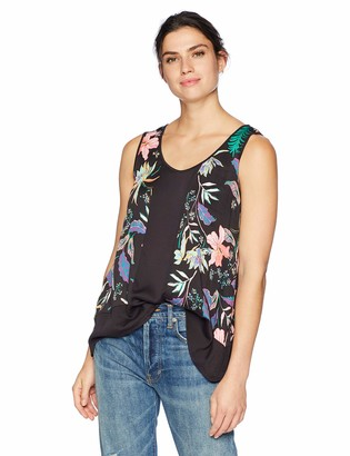 Tribal Women's Floral Sleeveless Blouse with Mixed Media