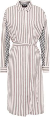 DKNY Paneled Striped Cotton-blend Poplin Midi Shirt Dress