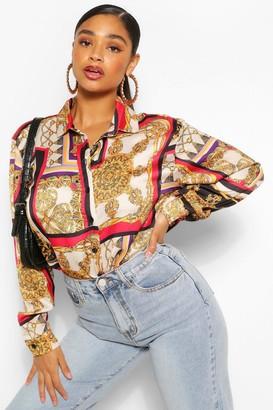 boohoo Plus Chain Printed Shirt Dress
