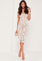 Missguided Bardot Lace Midi Dress White