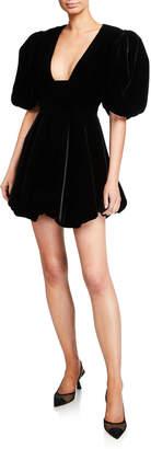 KHAITE Leona Velvet Deep-V Mini Dress