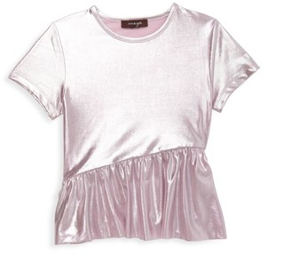 Imoga Little Girl's & Girl's Ruffle Metallic Tee