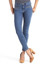 Mid rise zip pocket true skinny ankle jeans