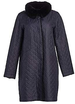 The Fur Salon Women's Rabbit Fur-Lined Quiled Coat