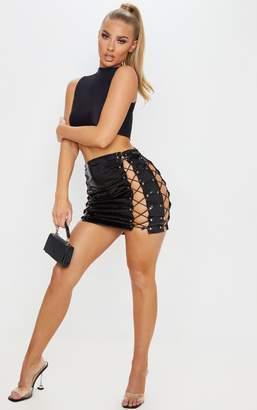 PrettyLittleThing Black Croc Vinyl Extreme Lace Up Mini Skirt