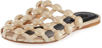 Alexander Wang Amelia Grid Studded Caged Leather Mule Flat