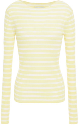 Vince Striped Ribbed Cotton-jersey Top