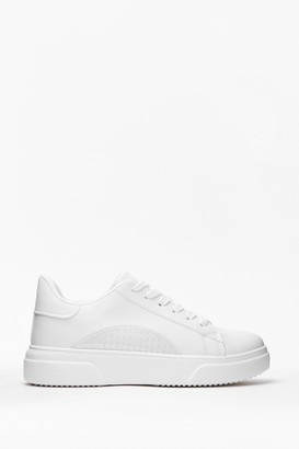 Nasty Gal Womens Run This Town Faux Leather Two-Tone Trainers - White - 3