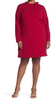 Nina Leonard Long Sleeve Solid Tie Dress (Plus Size)
