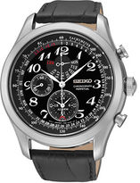 Seiko Chronograph Stainless Steel Leather Strap Watch