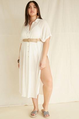 Forever 21 Plus Size Shirt Swim Cover-Up Kimono