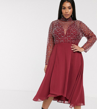Asos DESIGN Curve midi dress with linear embellished bodice and wrap skirt