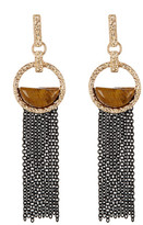 Steve Madden Two-Tone Textured Circle Tiger&s Eye Earrings