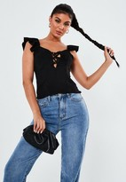 Missguided Black Ruffle Strap Lace Up Cami Top