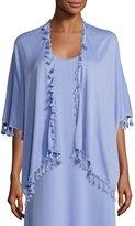 Joan Vass Draped Dolman-Sleeve Cardigan w/ Fringe Trim, Lavender, Plus Size