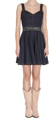 Dolce & Gabbana Denim Short Dress With Belt