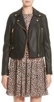 Burberry Women's Patternsby Lambskin Leather Moto Jacket