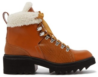 Chloé Bella Shearling-lined Leather Boots - Womens - Tan