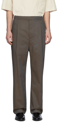 Lemaire Brown Poplin Pleated Drawstring Trousers