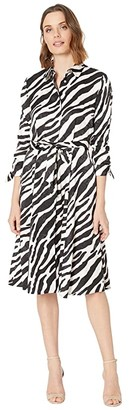 Calvin Klein Belted Animal Print Shirtdress (Petal Multi) Women's Dress