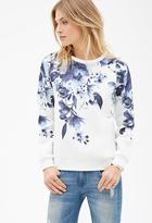 LOVE21 LOVE 21 Contemporary Floral-Printed Scuba Knit Pullover