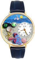 Whimsical Watches Personalized Flip-Flop Womens Gold-Tone Bezel Blue Leather Strap Watch