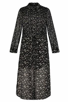 Ulla Popken Women's Plus Size Chiffon Floral Print Shirt Dress Black Multi 20/22 725899 10-46+