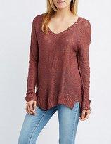 Charlotte Russe Slub Knit V-Neck Sweater