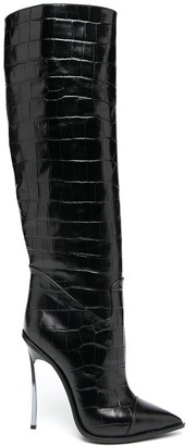 Casadei Blade crocodile-effect knee-high boots