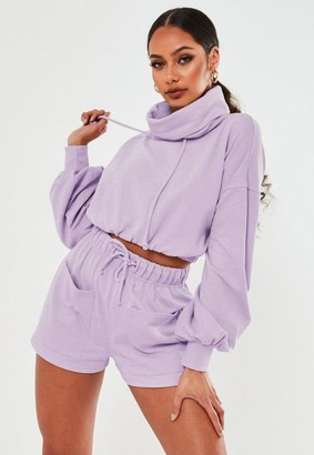 Missguided Lilac Cowl Neck Cropped Sweatshirt