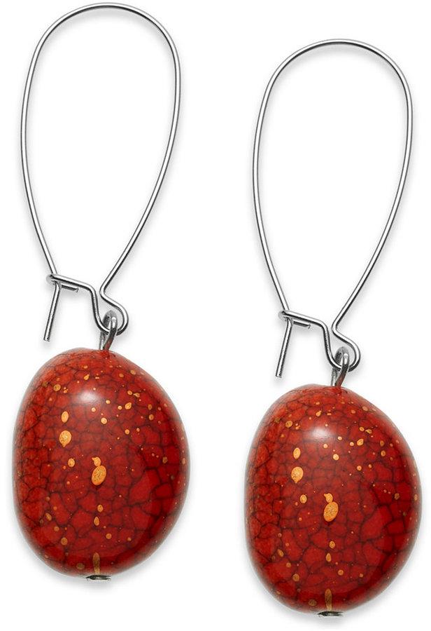 Style&Co. Earrings, Silver-Tone Red Oval Bead Drop Earrings
