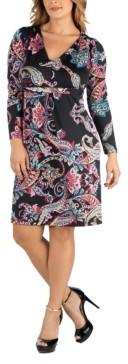 24Seven Comfort Apparel Paisley Print V-Neck Long Sleeve Plus Size Dress