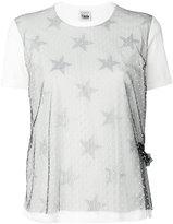 Twin-Set sheer polka star T-shirt - women - Cotton/Polyamide/Spandex/Elastane - XXS