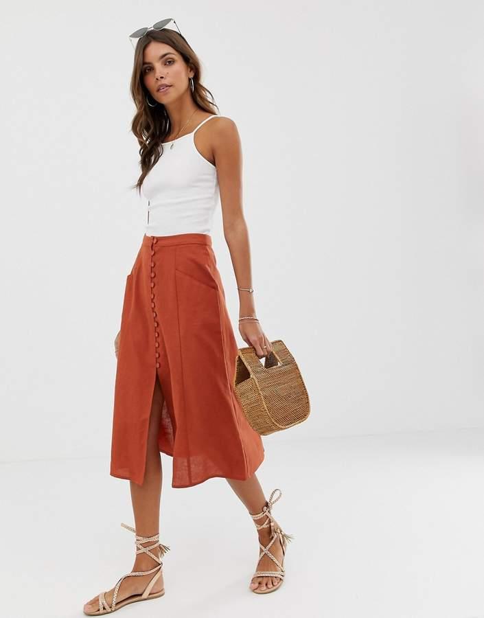 Asos Design DESIGN midi skirt with button front