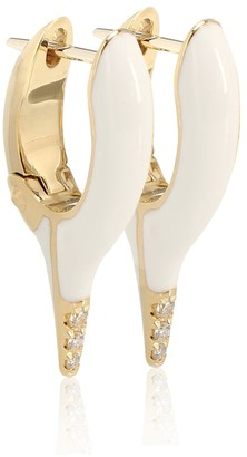 Melissa Kaye Lola Needle 18kt gold and diamond earrings