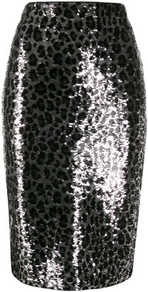 MICHAEL Michael Kors Leopard Print Sequin Skirt