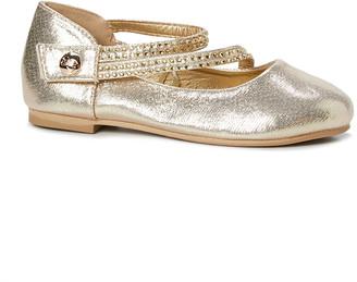 bebe girls Girls' Ballet Flats Gold - Gold Shimmer Crisscross-Strap Ballet Flat - Girls