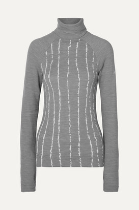 FALKE ERGONOMIC SPORT SYSTEM Striped Wool-blend Turtleneck Top - Light gray