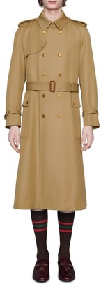 Gucci Wool Trench Coat With Label
